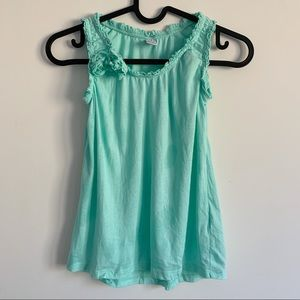 Zara Blue Tank with Ruffles and Flowers